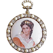 Large Hand Painted Limoges Miniature Pin Pendant