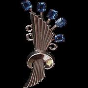 Blue Rhinestone Retro Modern Pin