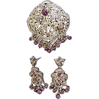 White Sapphire and Ruby Mogul Pendant and Earrings