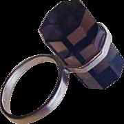 Mid Century Sterling Quartz Ring