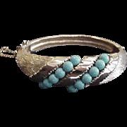 Blue Bead Hinged Bangle Bracelet