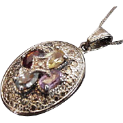 Sterling and Stones Locket Necklace