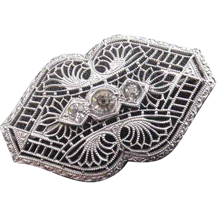 Edwardian Filigree and Rhinestone Pin