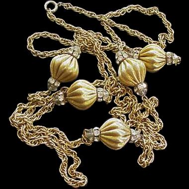 Mid Century Rhinestone Longchain Necklace