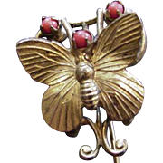 Brass and Coral Glass Moth Stick Pin