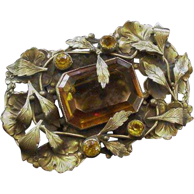 Leafy Brass and Glass Big Rhinestone Pin