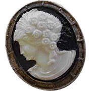 Old Celluloid Cameo Pin