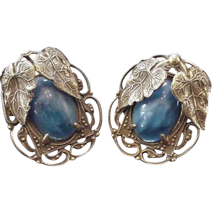 Early Brass and Blue Glass Earrings