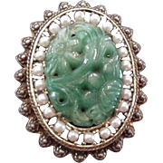 Kramer Carved Green Glass Pin