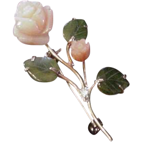 Coral and Jade Pin
