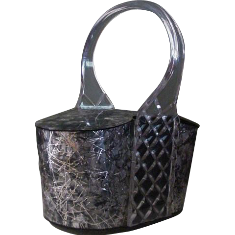 Silver Clear and Confetti Lucite Box Purse