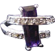 Purple Glass Cocktail Ring