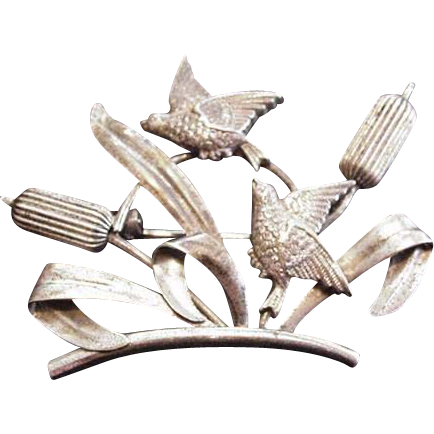Carl Art Sterling Silver Cattails and Swallows Pin