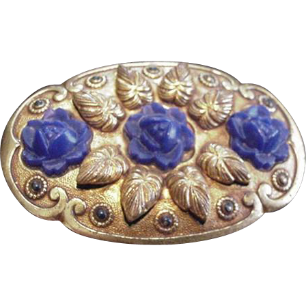Brass and Blue Flower Pin