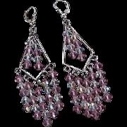 Sterling Silver Pink Crystal Earrings