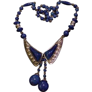 Czech Blue Glass and Brass Necklace