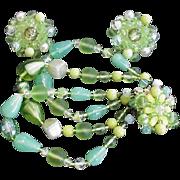 Green Art Glass Bracelet and Earrings