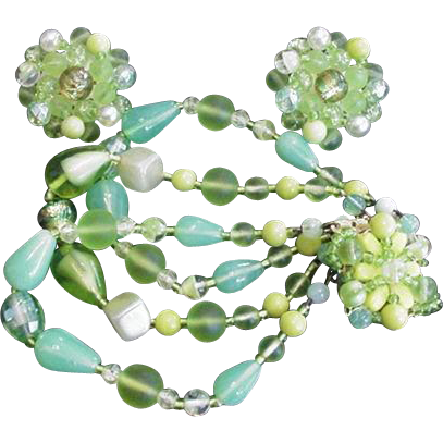 Green Art Glass Bracelet and Earrings