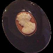 Victorian Glass Cameo Pin