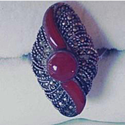 Art Deco Sterling Silver and Carnelian Ring