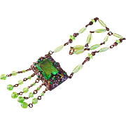 Brass and Green Glass Necklace