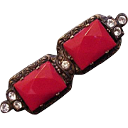 Art Deco Red Glass and Brass Pin