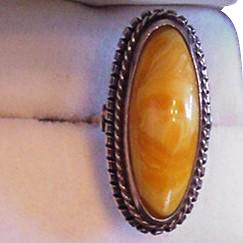 Amber Ring  Silver   Large