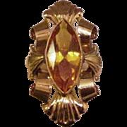 14k Gold Ring Citrine Large Fancy Rococo Style Kt Karat