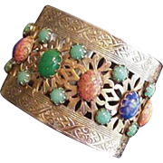 Cuff Bracelet Multi Color Art Glass Cabochons Vintage