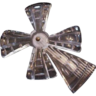 Lucite Clear Mechanical Windmill Pin Brooch