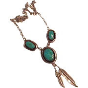 Sterling Turquoise Navajo Necklace  Leonard - Marian Nez