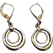 Art Deco Circles Gold Filled Lever Back Earrings