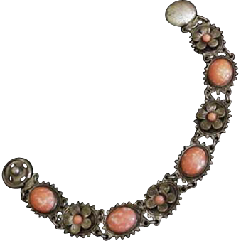 Coral Art Glass Link Bracelet Early 20th Century