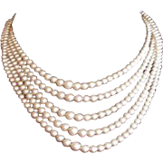 Art Deco Rhinestone Clasp Five Strand Faux Pearl Necklace