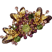 Miriam Haskell Green Crystals Purple Rhinestones Art Glass Pin Horseshoe Mark