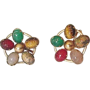 Genuine Stone Scarabs Gold Filled Earrings Amco