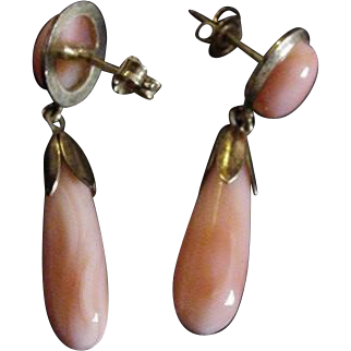 Angle Skin Coral Sterling Silver Drop Pierced Earrings