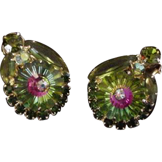 Juliana Green Heliotrope Margarita Rhinestone Clip on Rhinestone Earrings
