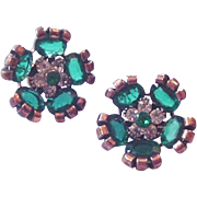 Retro Modern Green Rhinestone Clip on Earrings