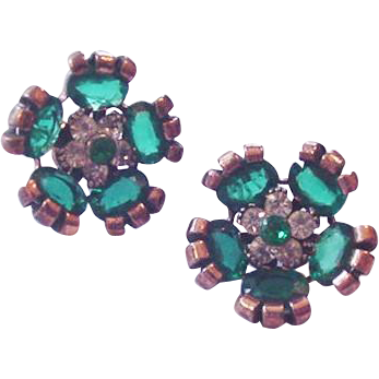 Retro Modern Green Rhinestone Clip on Earrings