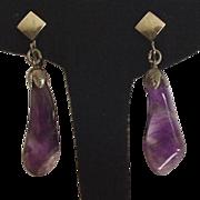 Amethyst Purple Drop Clip on Earrings