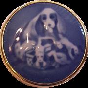 Porcelain Blue on White Spaniel Pin Round 1979