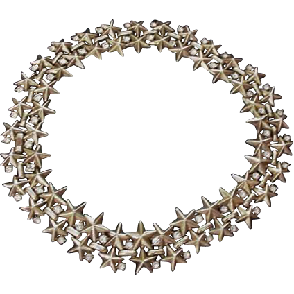 Trifari Stars and Clear Rhinestone Vintage Choker Necklace