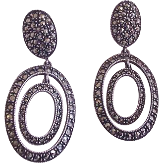 Sterling Silver Marcasite Judith Jack Earrings
