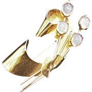 Sterling Silver Retro Modern Moonstone Glass Coro Pin