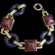 Art Deco Brass and Glass Bracelet Napier