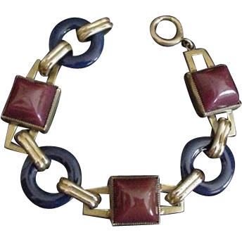 Art Deco Brass and Glass Bracelet Napier