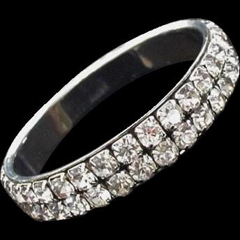 Rhinestone Bangle Bracelet Big Vintage