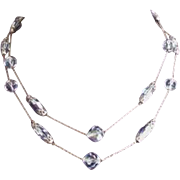 Pale Blue Crystals Necklace Vintage Two Strands
