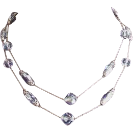 Pale Blue Crystals Necklace Vintage Two Strands
